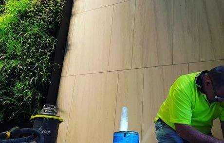 minor repairs detailing on limestone wall