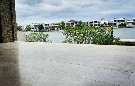 restored limestone patio