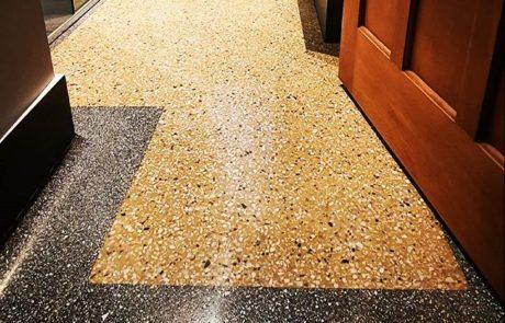 restored terrazzo bathroom floor
